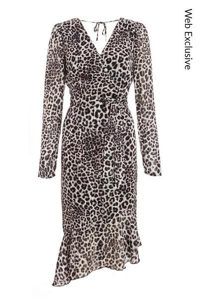 Grey Chiffon Leopard Print Midi Dress
